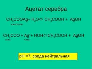 Ацетат серебра CH3COOAg+ H2O электролит CH3COO-+ Ag++ HOH слаб. слаб. CH3CO