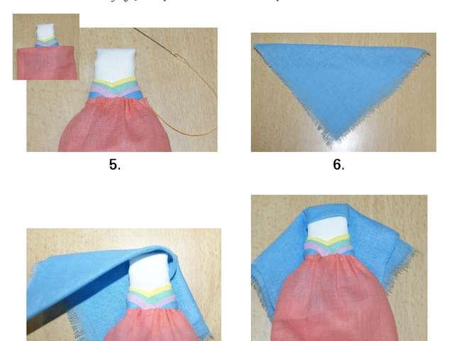 5. Готовую заготовку головы вставляем в верх платья и затягиваем нить, закреп...