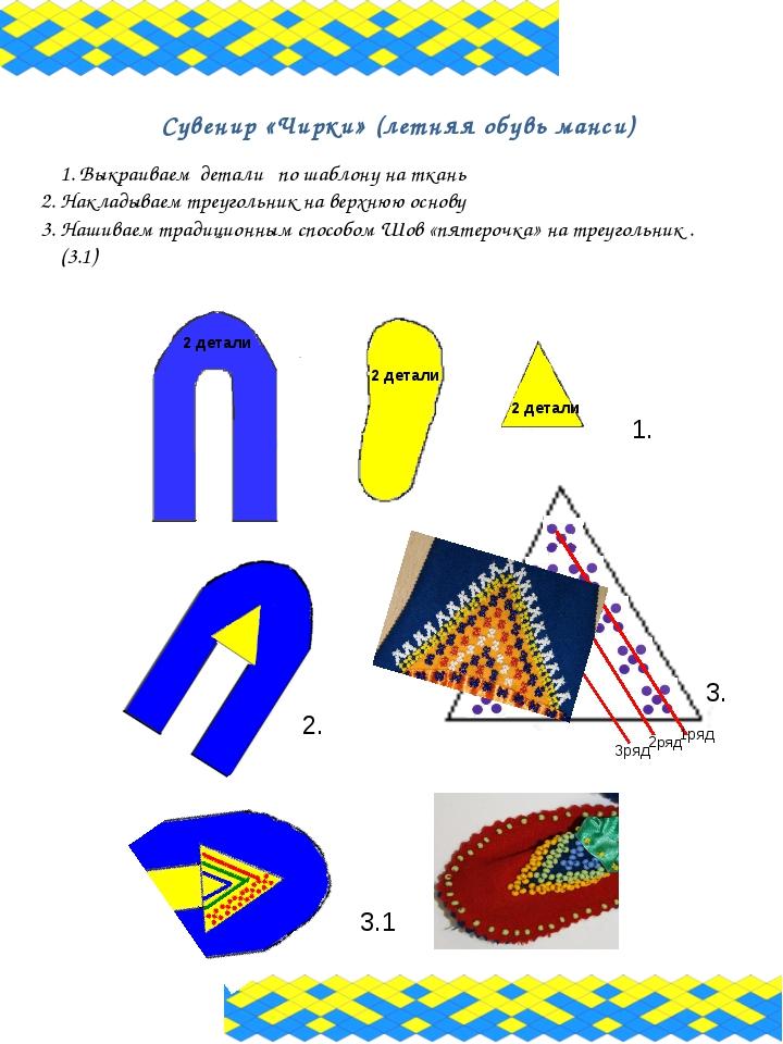 Сувенир «Чирки» (летняя обувь манси) 1. Выкраиваем детали по шаблону на ткань...