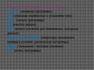 Структура программы на языке Паскаль Program (название программы); Var ( опис