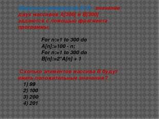 Задача из материалов ЕГЭ : значение двух массивов А[300] и B[300] задаются с