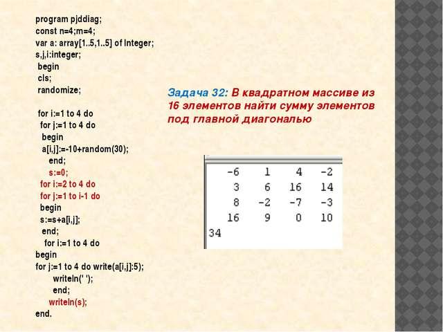 Задача 32: В квадратном массиве из 16 элементов найти сумму элементов под гла...