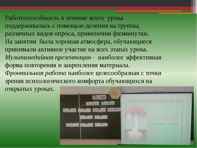 Работоспособность в течение всего урока поддерживалась с помощью деления на г...