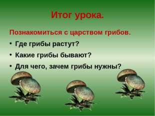 Итог урока. Познакомиться с царством грибов. Где грибы растут? Какие грибы бы