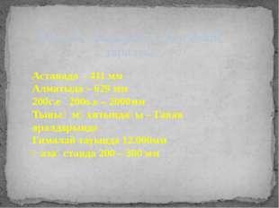 Жауын – шашынның жер бетіне таралуы Астанада - 411 мм Алматыда – 629 мм 200с.