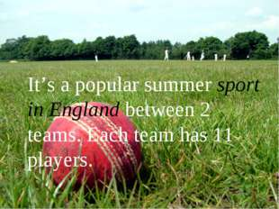 It's a popular summer sport in England between 2 teams. Each team has 11 pla