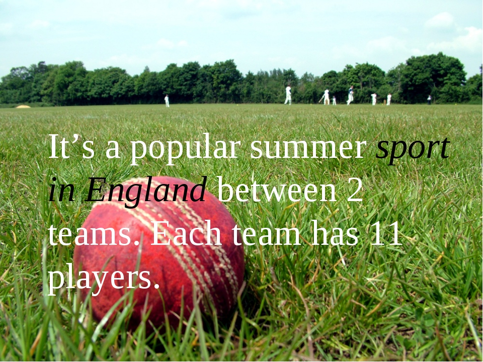 It's a popular summer sport in England between 2 teams. Each team has 11 pla...