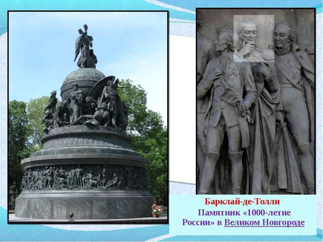 Барклай-де-Толли Памятник «1000-летие России»вВеликом Новгороде