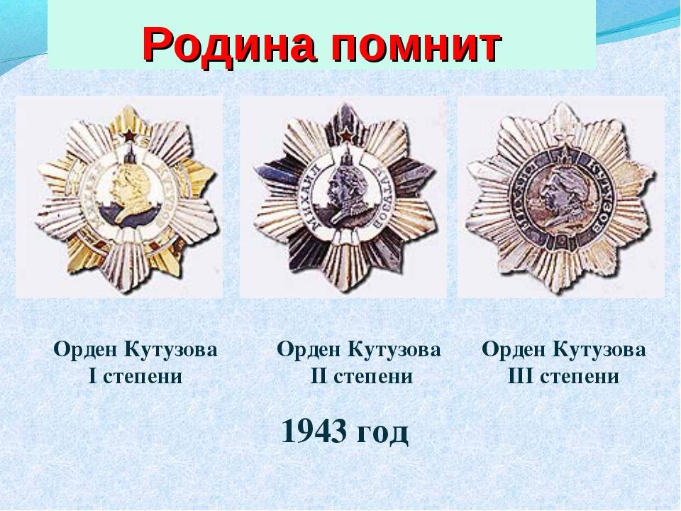 Орден Кутузова I степени Орден Кутузова II степени Орден Кутузова III степени...