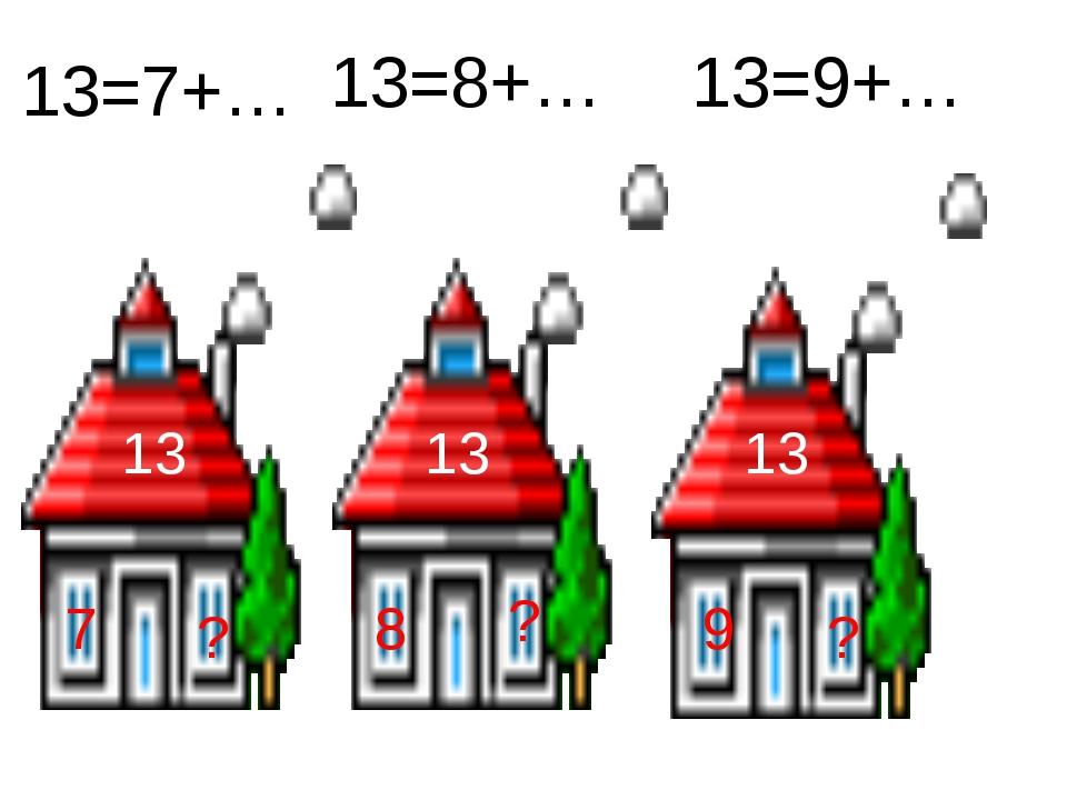 13 7 ? 13 13 8 ? 9 ? 13=7+… 13=8+… 13=9+…