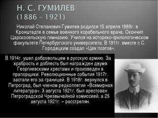 Николай Степанович Гумилев родился 15 апреля 1886г. в Кронштадте в семье воен