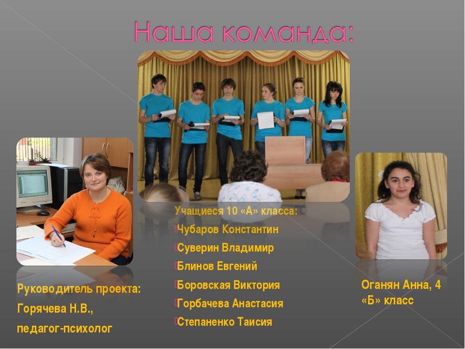 Руководитель проекта: Горячева Н.В., педагог-психолог  Учащиеся 10 «А» класс...