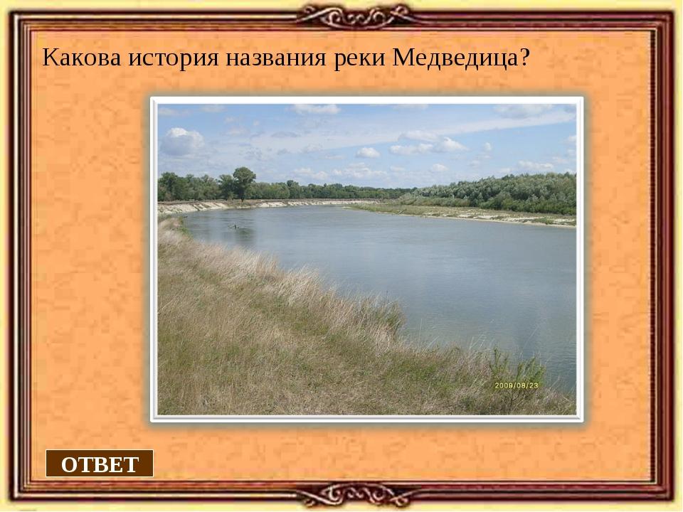 Какова история названия реки Медведица? ОТВЕТ