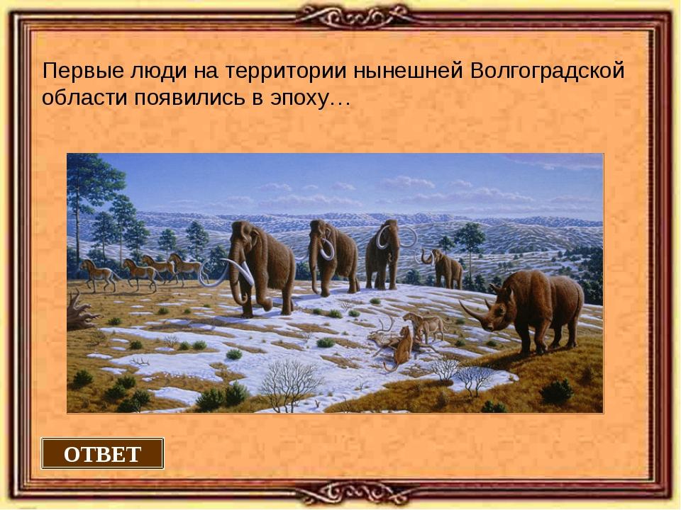 ОТВЕТ Первые люди на территории нынешней Волгоградской области появились в эп...
