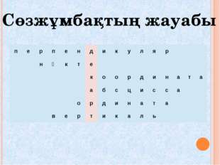 Сөзжұмбақтың жауабы п е р п е н д и к у л я р н ү к т е к о о р д и н а т а а