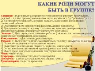 Старший:1) Организует распределение обязанностей (эксперт, консультант, рядов