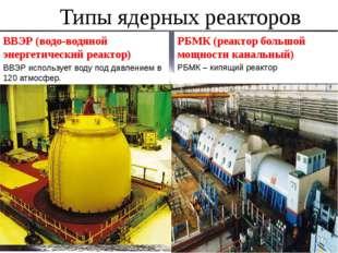 Типы ядерных реакторов ВВЭР (водо-водяной энергетический реактор) РБМК (реак