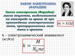 k – электрохимический эквивалент (кг/Кл)