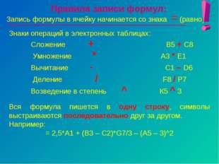 Правила записи формул: Запись формулы в ячейку начинается со знака = (равно).