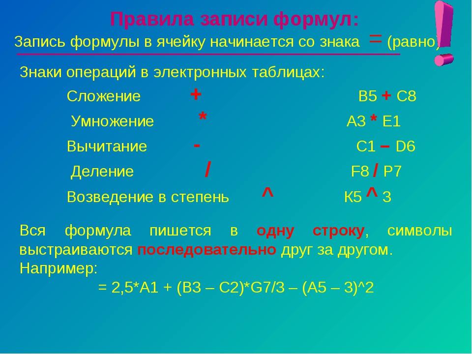 Правила записи формул: Запись формулы в ячейку начинается со знака = (равно)....