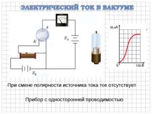 При смене полярности источника тока ток отсутствует Прибор с односторонней пр
