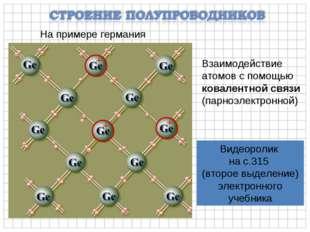 На примере германия Взаимодействие атомов с помощью ковалентной связи (парноэ