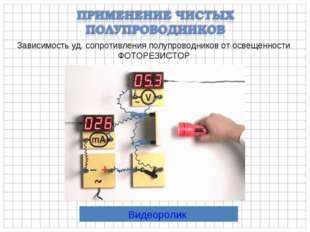 Зависимость уд. сопротивления полупроводников от освещенности ФОТОРЕЗИСТОР Ви