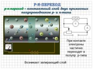 Возникает запирающий слой При контакте электроны частично переходят в полупр.