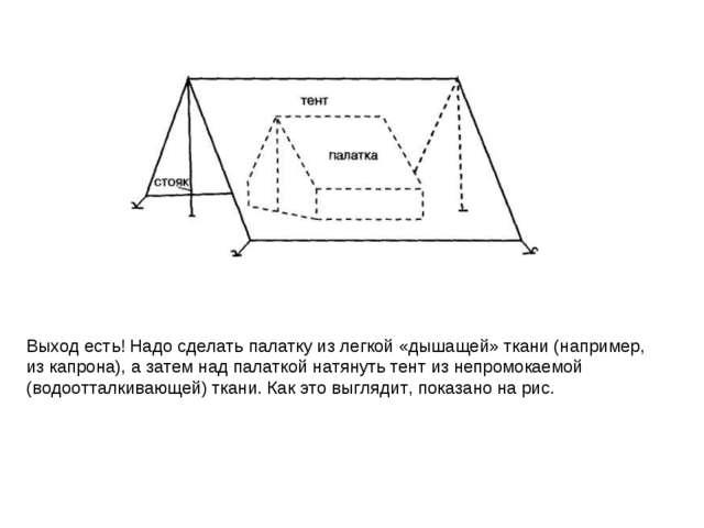 Выход есть! Надо сделать палатку из легкой «дышащей» ткани (например, из капр...
