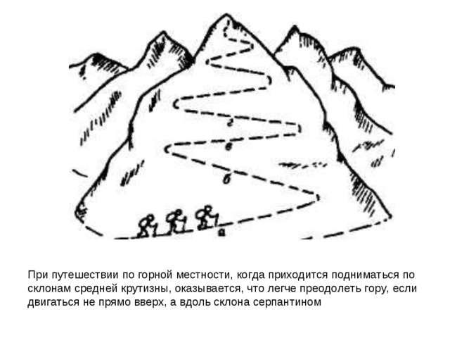 При путешествии по горной местности, когда приходится подниматься по склонам...