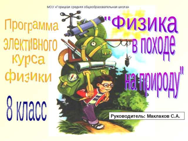 МОУ «Горицкая средняя общеобразовательная школа» Руководитель: Маклаков С.А.