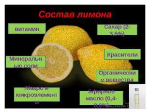 Состав лимона Органические вещества Макро и микроэлементы Красители Сахар (2-