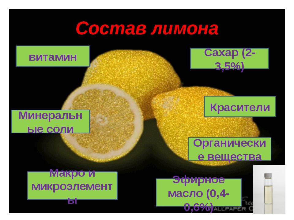 Состав лимона Органические вещества Макро и микроэлементы Красители Сахар (2-...
