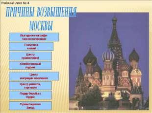 Выгодное географи- ческое положение Политика князей Центр православия Хозяйст