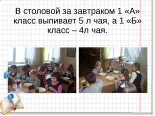 В столовой за завтраком 1 «А» класс выпивает 5 л чая, а 1 «Б» класс – 4л чая.
