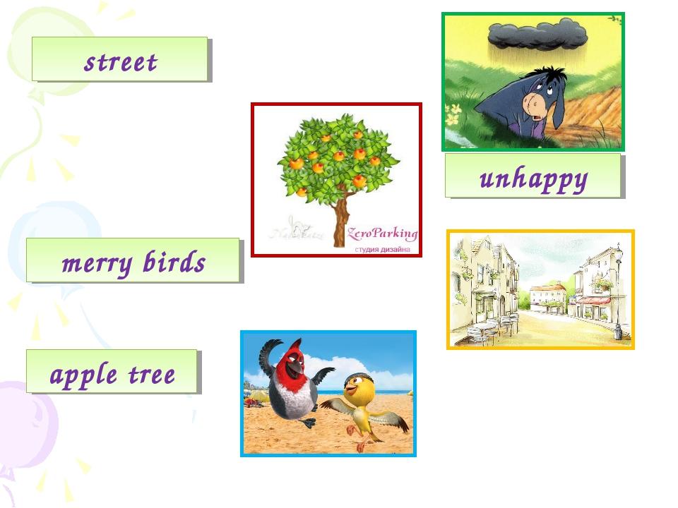 street unhappy merry birds apple tree
