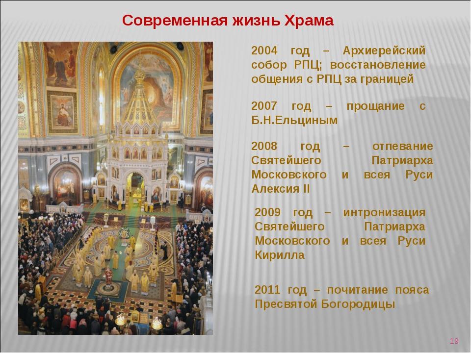 * Современная жизнь Храма 2004 год – Архиерейский собор РПЦ; восстановление о...