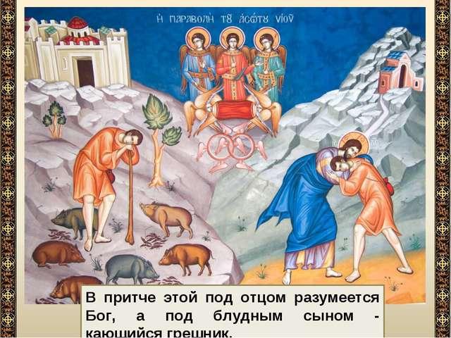 В притче этой под отцом разумеется Бог, а под блудным сыном - кающийся грешник.