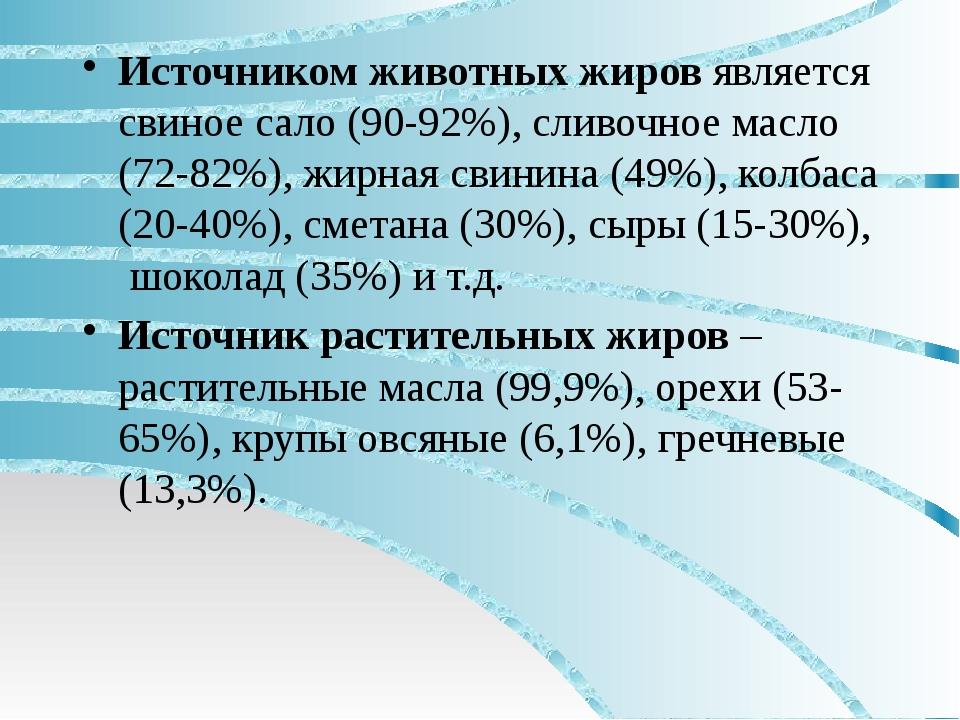 Источником животных жиров является свиное сало (90-92%), сливочное масло (72...