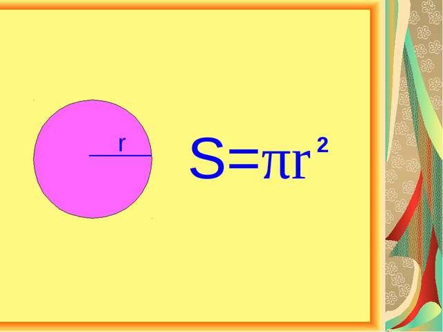 r S=πr 2