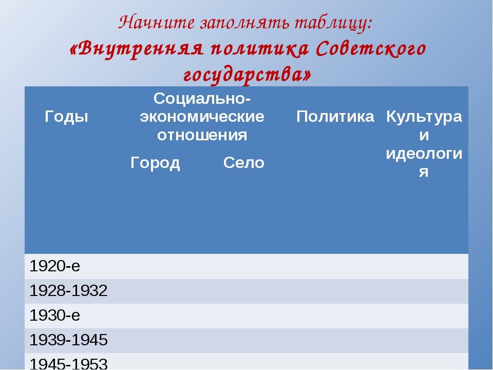 Начните заполнять таблицу: «Внутренняя политика Советского государства» Годы...
