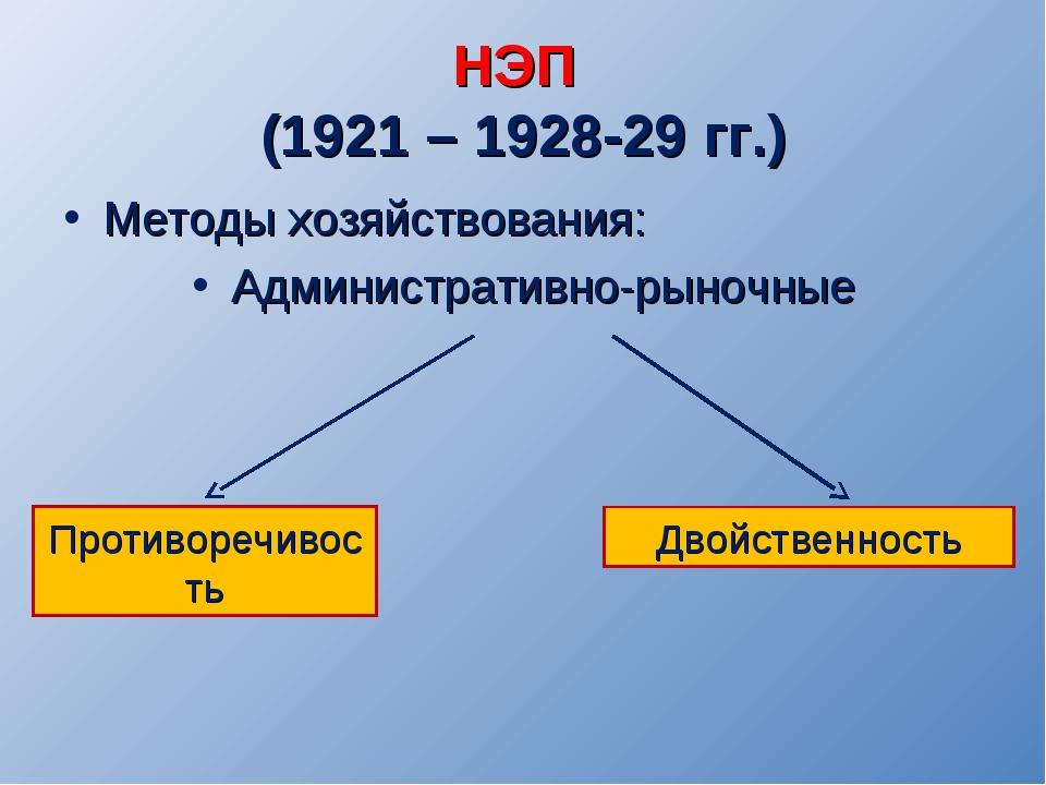 НЭП (1921 – 1928-29 гг.) Методы хозяйствования: Административно-рыночные Прот...