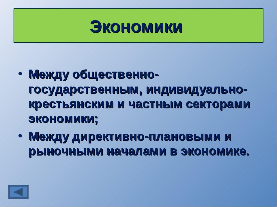 Экономики Между общественно-государственным, индивидуально-крестьянским и час...