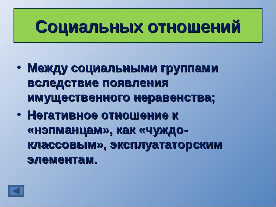 Социальных отношений Между социальными группами вследствие появления имуществ...