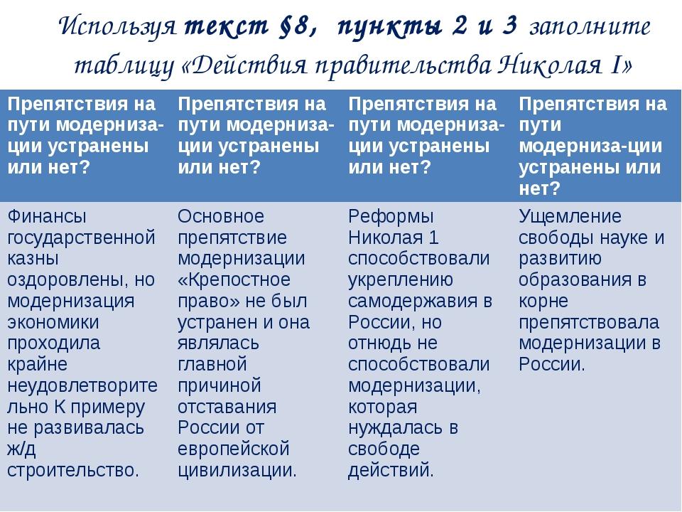 Используя текст §8, пункты 2 и 3 заполните таблицу «Действия правительства Ни...