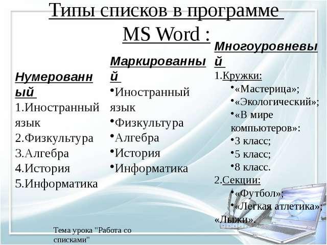 """Типы списков в программе MS Word : 29.11.2014 Тема урока """"Работа со списками""""..."""