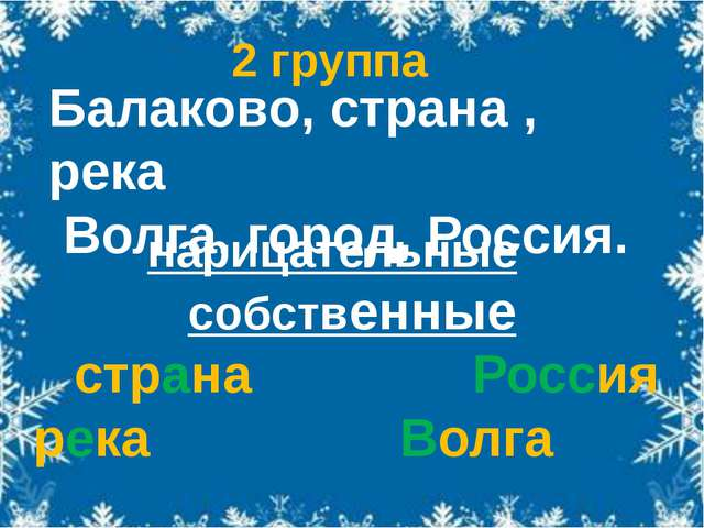 нарицательные собственные страна Россия река Волга город Балаково Балаково,...