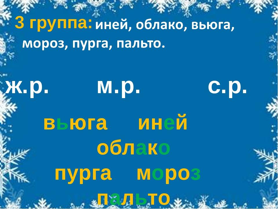 ж.р. м.р. с.р. вьюга иней облако пурга мороз пальто 3 группа: