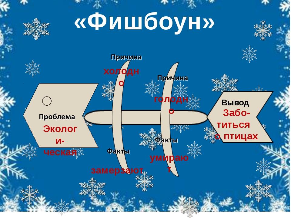 «Фишбоун» Вывод Экологи- ческая холодно голодно замерзают умирают Забо- тить...