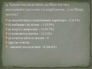 а) способствуют становлению характера – 2 (11%) б) выбивают из колеи – 1 (5,5